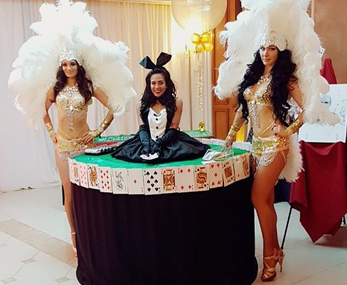 Beautiful Casino Show Girls Entertainers Strolling Poker Table Poker Dealer Model Birthday Party Private Party Event New York