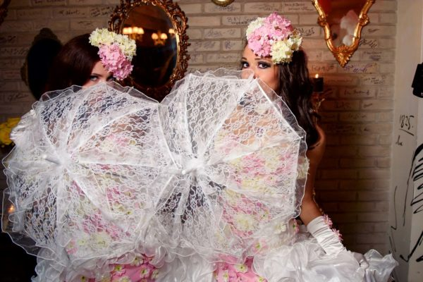 Beautiful Models Greeters Umbrellas Pink White Costumes New York City