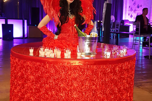 Beautiful alive strolling table girl Model Private events birthday party New York