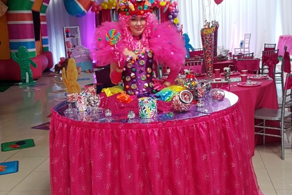 Candy Land Strolling Table Entertainment Performer Strolling table Model Children PartyNew York City
