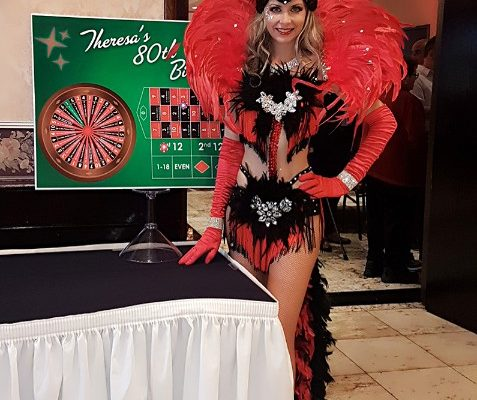 Casino Show Girl Costumed Performer Entertainer Model Greeter Feathers Backpiece Black and Red Costume New York
