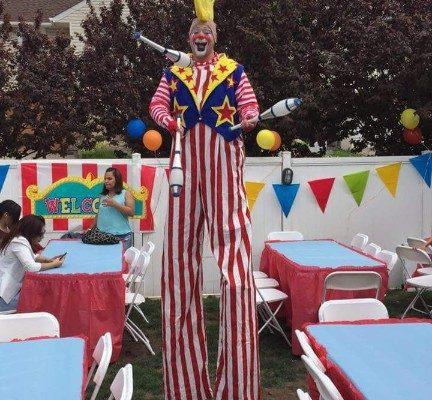 Clown Juggled Stilt Walker New York City