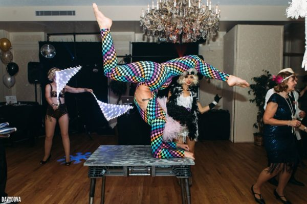 Colored Body Suit Contortionist for Events and Parties