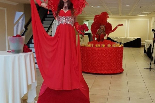 Red Carpet Model Greeter Red strolling Table Model Catering Hall Private Event New York City